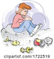 Cartoon Woman Down In The Dumps