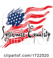 Systemic Equality Text Over An American Flag