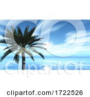 3D Tropical Landscape With Palm Tree Against Ocean