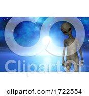 3D Halloween Landscape With Alien Against Ocean Space Scene