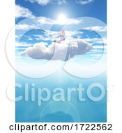 3D Surreal Landscape With Female In Yoga Position In Cloud