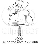 Cartoon Lady Holding A Swatter And Wearing A Mask With A Fly On Her Nose
