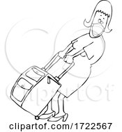 09/20/2020 - Cartoon Lady Wearing A Mask And Pulling Heavy Luggage