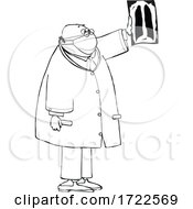 Cartoon Male Doctor Or Radiologist Reviewing Xray Imaging