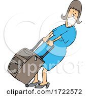 Cartoon Woman Wearing A Mask And Pulling Heavy Luggage