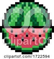 Watermelon Fruit Pixel Art Eight Bit Game Icon by AtStockIllustration