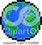 Poster, Art Print Of World Earth Globe Eight Bit Pixel Art Game Icon