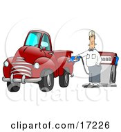 Caucasian Fast Food Manager Man Holding Onto A Gasoline Pump While Filling Up His Red Pickup Truck At A Gas Station Clipart Illustration