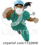Nurse Doctor Woman Super Hero Medical Concept