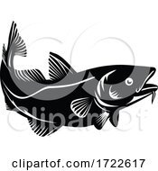 Atlantic Cod Or Codling Fish Swimming Up Woodcut Black And White