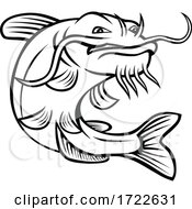 Channel Catfish Ictalurus Punctatus Or Channel Cat Jumping Up Cartoon Black And White