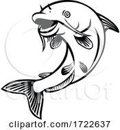 Blue Catfish Ictalurus Furcatus Jumping Up Cartoon Black And White