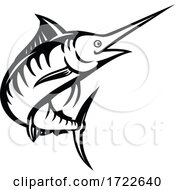 Indo Pacific Blue Marlin Swimming Upward Stencil Retro Black And White
