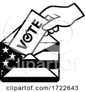 Poster, Art Print Of American Voter Voting Posting Postal Ballot During Election Usa Flag Envelope Retro