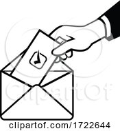 Poster, Art Print Of Voter Voting Using Postal Ballot During Election Retro Black And White
