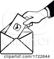 Voter Voting Using Postal Ballot During Election Retro Black And White