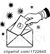Poster, Art Print Of American Voter Voting Using Postal Ballot During Pandemic Lockdown Election Retro Black And White