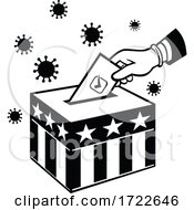 Poster, Art Print Of American Voter Voting During Pandemic Lockdown Election Retro Black And White