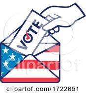 American Voter Voting Posting Postal Ballot During Election USA Flag Envelope Retro