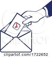 Poster, Art Print Of Voter Voting Using Postal Ballot During Election Retro