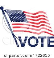 Vote American Election Flag Retro