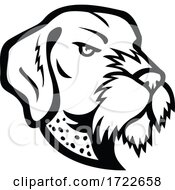Head Of German Wirehaired Pointer Mascot Black And White
