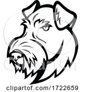Head Of Airedale Terrier Bingley Terrier Or Waterside Terrier Dog Black And White Mascot