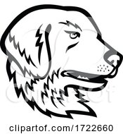 Head Of Great Pyrenees Dog Or Pyrenean Mountain Dog Black And White Mascot