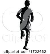 Marathon Runner Silhouette Running Front View Retro Woodcut Black And White