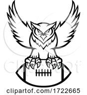 Poster, Art Print Of Great Horned Owl Or Tiger Owl Clutching American Football Ball Mascot Black And White