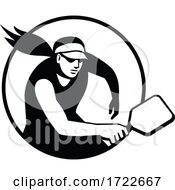 Female Pickleball Player With Paddle Circle Retro Black And White