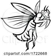 Praying Mantis Flying Side View Black And White Mascot