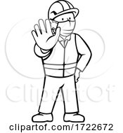 Construction Worker Wearing Face Mask Showing Stop Hand Signal Black And White Cartoon