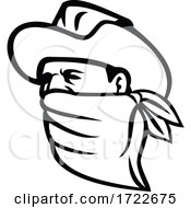 Cowboy Bandit Or Outlaw Wearing Face Mask Looking Side Mascot Black And White