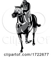Jockey Racing Thoroughbred Horse Or Galloper Front View Retro Black And White