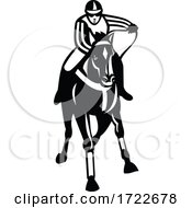 Jockey Racing Thoroughbred Horse Galloper Front View Retro Black And White