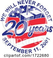 9 11 Memorial Patriot Day September 11 2001 20 Years Tribute Circle Retro Color