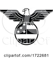 American Bald Eagle With Wings Spread Clutching United States Star And Stripes Flag In Circle Mascot Black And White