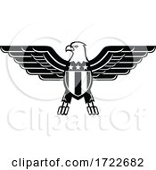 American Bald Eagle With Wings Spread And United States Star Spangled Banner Flag On Chest Mascot Black And White