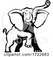 Poster, Art Print Of African Elephant Loxodonta African Bush Elephant Or African Forest Elephant Prancing Stencil Black And White