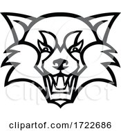Head Of An Angry Red Panda Or Red Bear Cat Front View Mascot Black And White