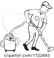 Commercial Carpet Cleaner Worker Vacuuming With Vacuum Cartoon Black And White