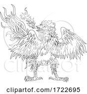 Basan Basabasa Or Inuhoo Wings Spread Front Ukiyo E Or Ukiyo Black And White Style