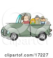 Friendly Caucasian Farmer Man Driving And Giving A Dog A Boy A Girl And A Man A Ride In His Truck Bed Clipart Illustration