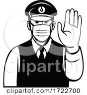 Japanese Policeman Or Police Officer Wearing Face Mask Showing Stop Hand Signal Black And White Cartoon