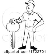 Locksmith Or Keymaker Standing And Holding Key Front View Cartoon Black And White