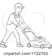 Gardener Mowing Lawn With Lawnmower Side View Black And White Cartoon
