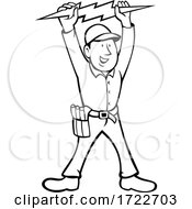 Electrician Holding Up Lightning Bolt Front View Cartoon Black And White