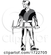 Coal Miner Wearing Hard Hat And Holding Pick Ax Standing Stencil Black And White Retro