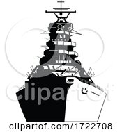 American Or United Sates Battleship Warship Dreadnought Naval Fighting Ship Front View Retro Black And White